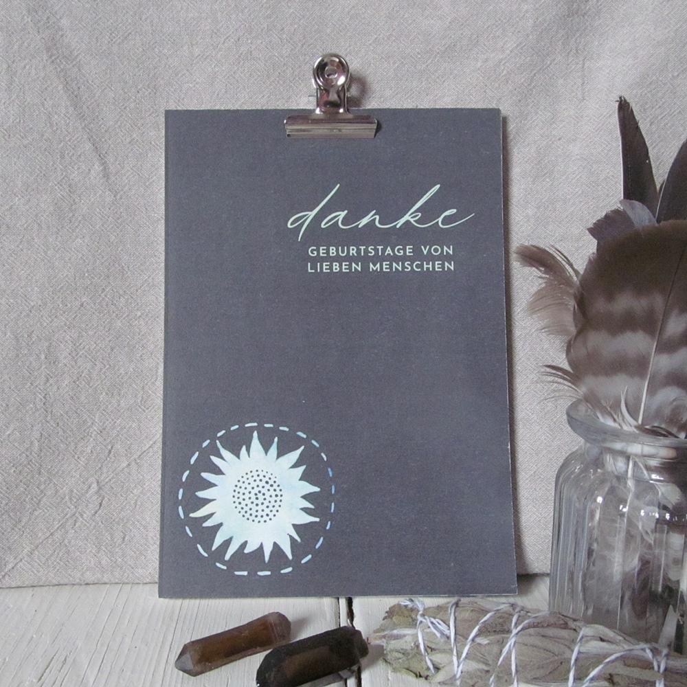 DANKE Geburtstagskalender - Takiwa SoulArt mit Briefklammer silber